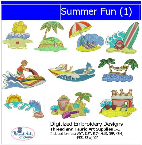 Machine Embroidery Designs - Summer Fun(1) - Threadart.com