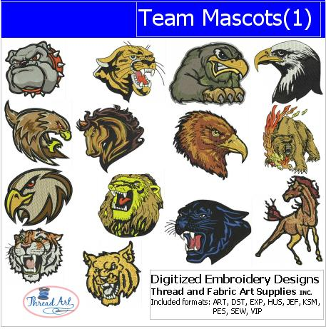 Machine Embroidery Designs - Team Mascots(1) - Threadart.com