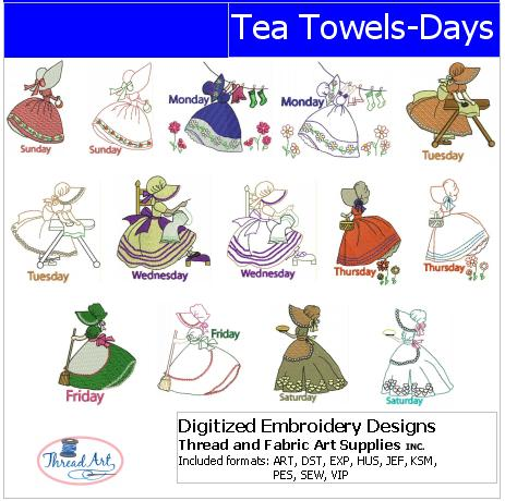 Machine Embroidery Designs - Tea Towels Days(1) - Threadart.com
