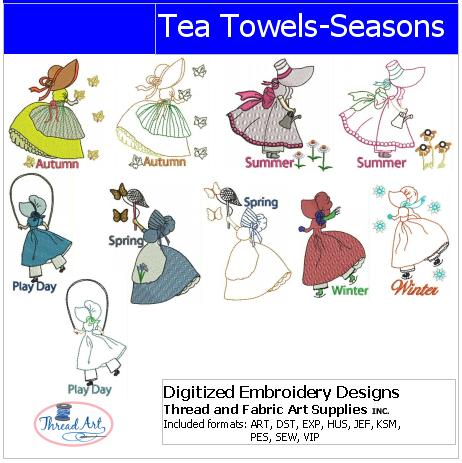 Machine Embroidery Designs - Tea Towels Seasons(1) - Threadart.com