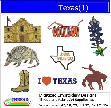 Machine Embroidery Designs - Texas(1) - Threadart.com