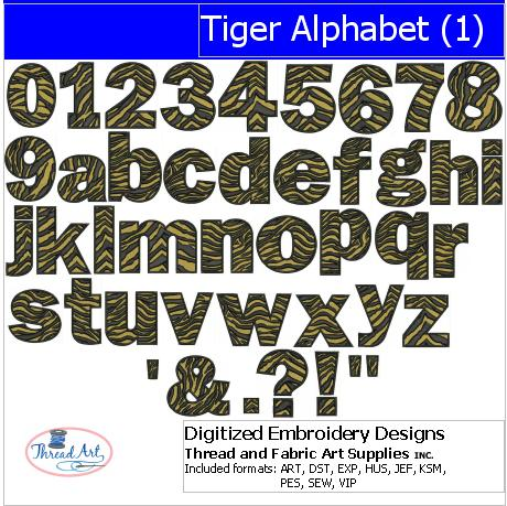 Machine Embroidery Designs - Tiger Alphabet(1) - Threadart.com