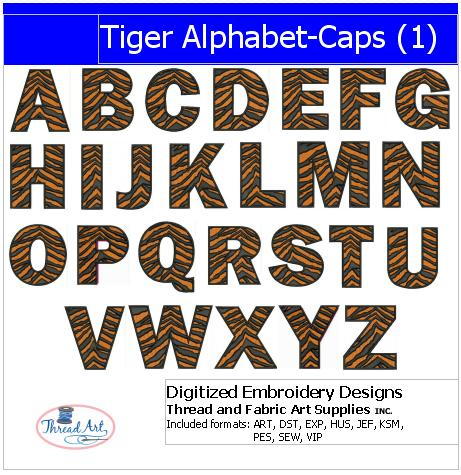 Machine Embroidery Designs - Tiger Alphabet Caps(1) - Threadart.com