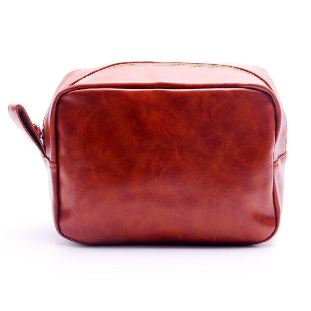 Light Brown Toiletry Bag - Faux Leather - Threadart.com