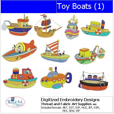 1 9 Formats Embroidery Design Set - 10 Designs Toy Boats USB Stick