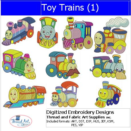 Machine Embroidery Designs - Toy Trains(1) - Threadart.com