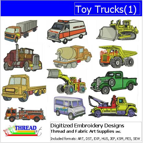 Machine Embroidery Designs - Toy Trucks(1) - Threadart.com