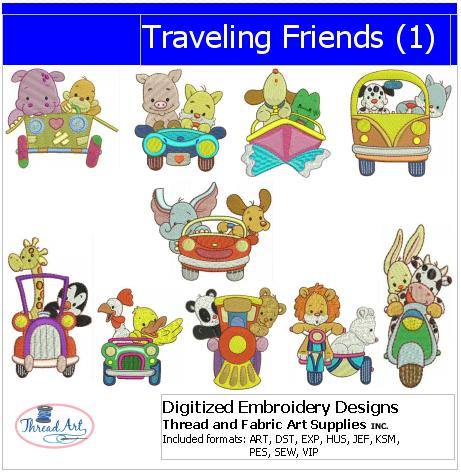 Machine Embroidery Designs - Traveling Friends(1) - Threadart.com