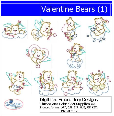 Machine Embroidery Designs - Valentine Bears(1) - Threadart.com