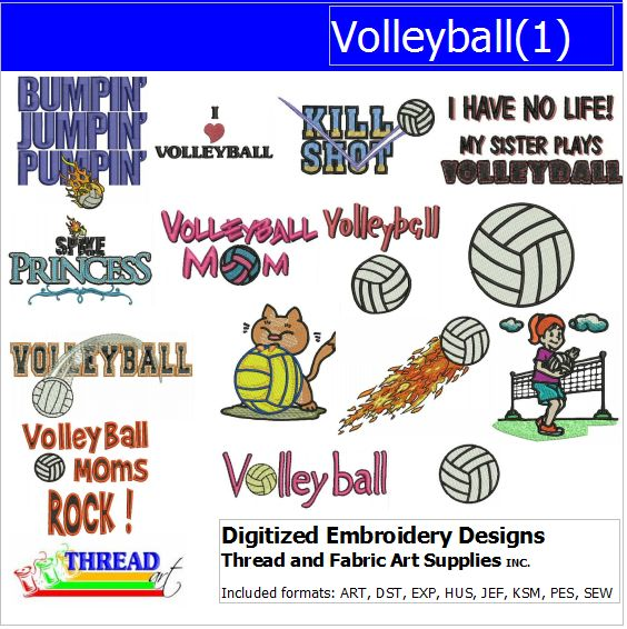 Machine Embroidery Designs - Volleyball(1) - Threadart.com