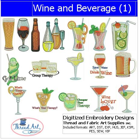 Machine Embroidery Designs - Wine and Beverage(1) - Threadart.com