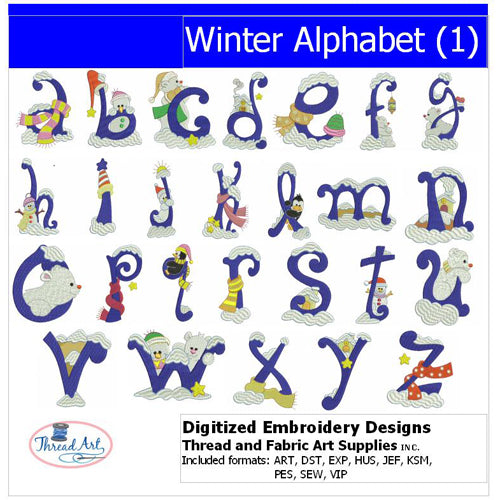 Machine Embroidery Designs - Winter Alphabet (1) - Threadart.com
