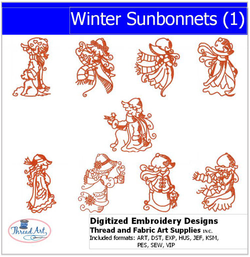 Machine Embroidery Designs - Winter Sunbonnets(1) - Threadart.com