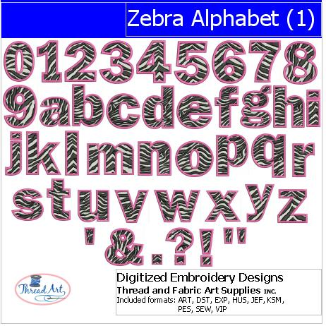 Machine Embroidery Designs - Zebra Alphabet(1) - Threadart.com