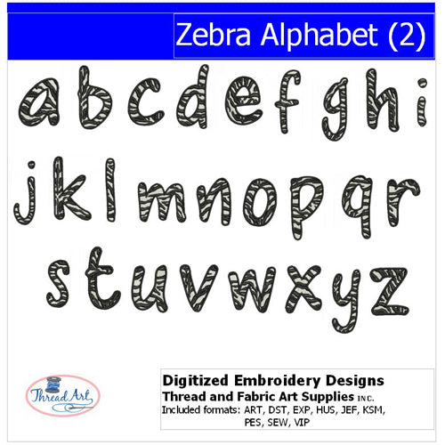 Machine Embroidery Designs - Zebra Alphabet (2) - Threadart.com