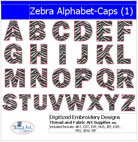 Machine Embroidery Designs - Zebra Alphabet Caps(1) - Threadart.com