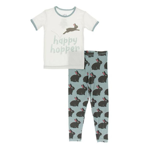 Short Sleeve Graphic Tee Pajama Set in Jade Forest Rabbit
