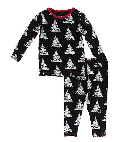 Midnight Foil Trees Long Sleeve Pajama Set