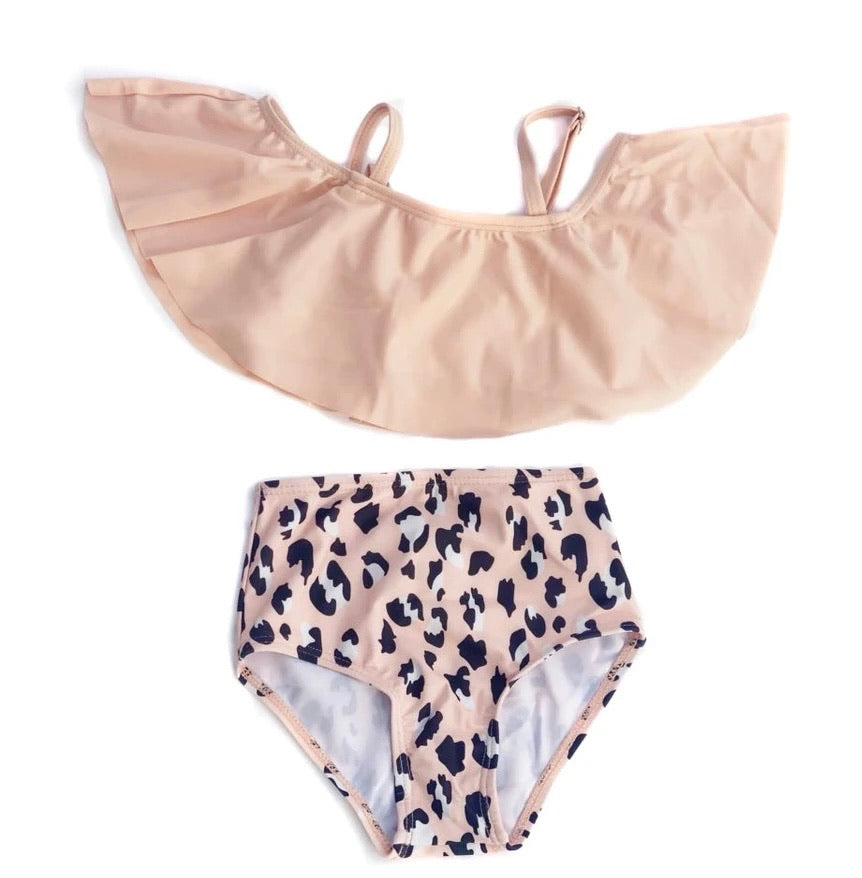 Peach Cheetah High-Waisted Swimsuit