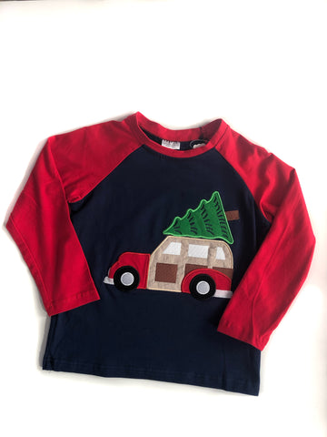 Navy Christmas Tree Raglan