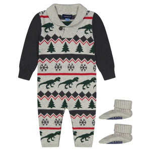 Dinosaur Sweater Romper 2 Piece Set