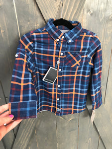 Andy & Evan Dark Blue Plaid Button Down