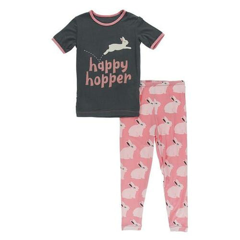 Short Sleeve Graphic Tee Pajama Set in Strawberry Forest Rabbit