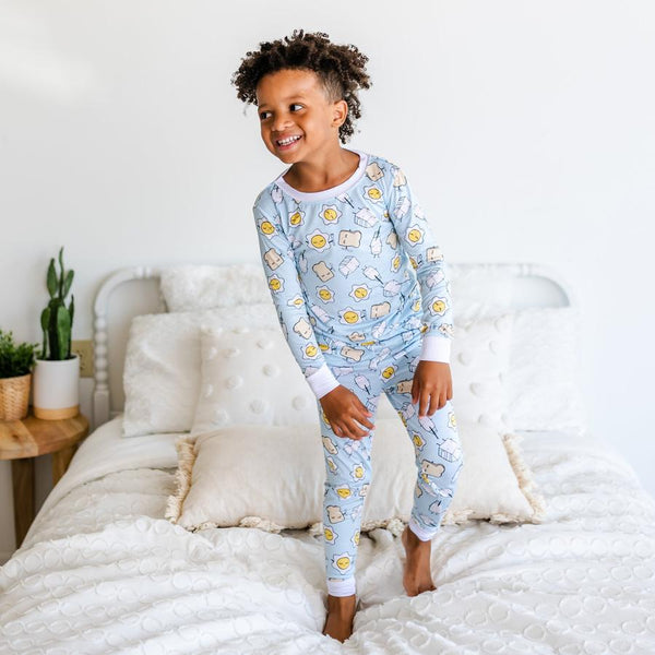 Blue Breakfast Buddies 2 Piece toddler/kids Bamboo Viscose Pajama Set