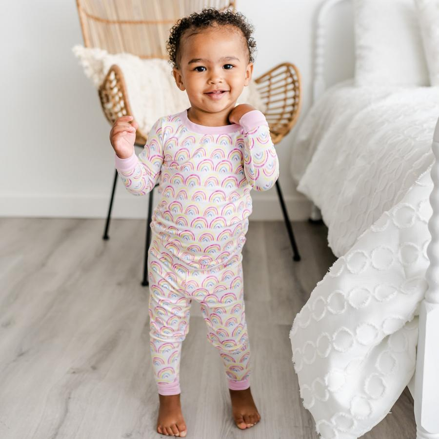 Pastel Rainbows 2 Piece toddler/kids Bamboo Viscose Pajama Set