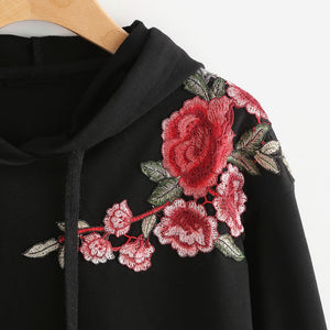 SUDADERA CROPPED FLOWER