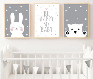 Be Happy Nursery Wall Art