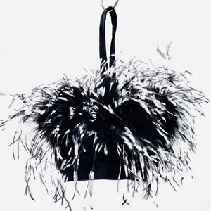Wristlet Black/White Ostrich Feathers
