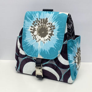 Backpack - Blue Flower/Black/Grey