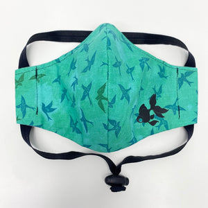 ADULT FACE MASK - Birds on Faded Green