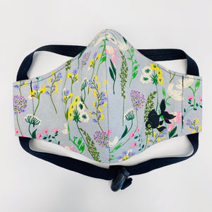 ADULT FACE MASK - English Garden on Light Grey