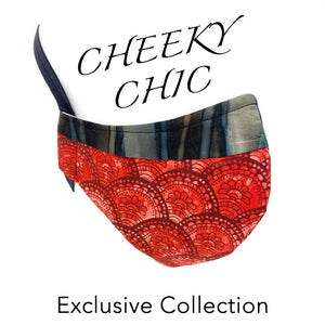 CHEEKY CHIC ADULT FACE MASK - Lotus Flower Blood Orange/ Earth Drip Lines