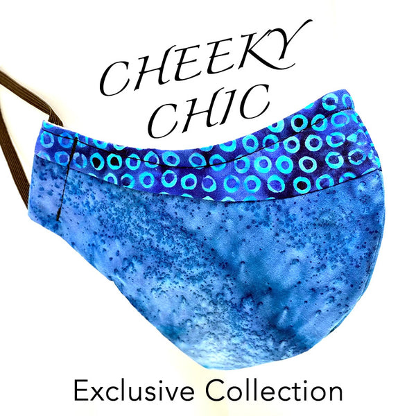 CHEEKY CHIC ADULT FACE MASK -  Dots Blue Mermaid Blues