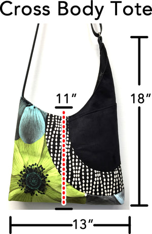 Cross Body Tote Lime Flower