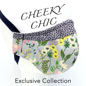 CHEEKY CHIC ADULT FACE MASK - English Garden/Grey Dots