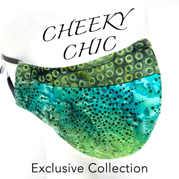 CHEEKY CHIC ADULT FACE MASK -  Dots Green Blue Sea Spray