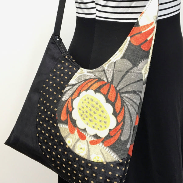 Cross Body Tote Orange/Grey Seed Pod