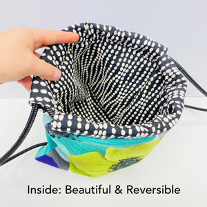 Reversible Cinch Sack Chocolate Aqua Lime Circles