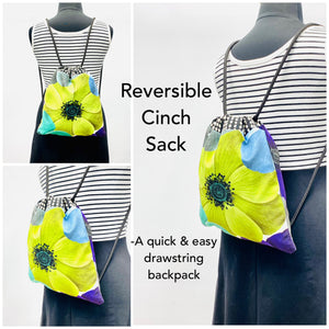 Reversible Cinch Sack Blue Dye Velvet Entangled Grey Lines