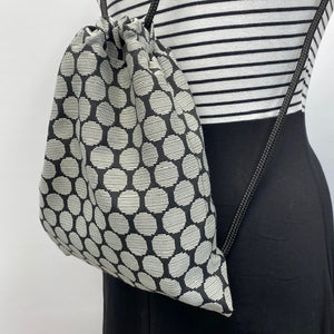 Reversible Cinch Sack Black Grey Dots