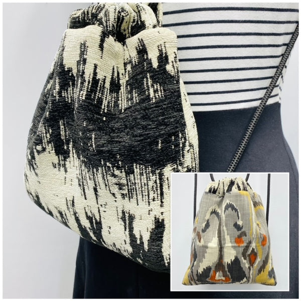 Reversible Cinch Sack Inkat Cream Black
