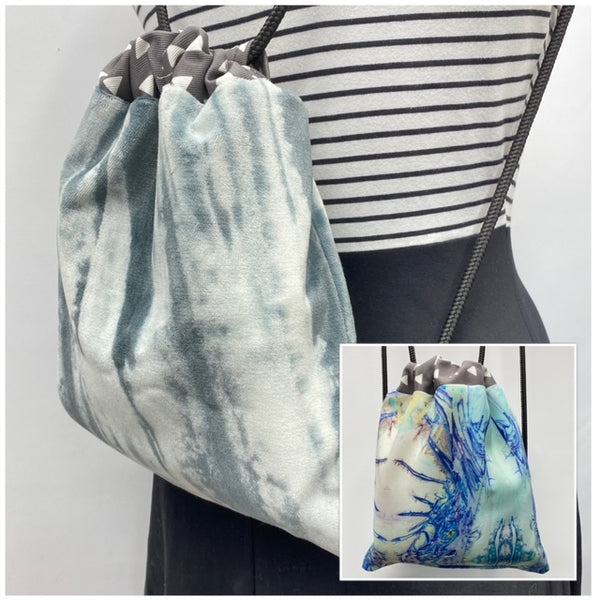 Reversible Cinch Sack Grey Dye Velvet Ice Crystals