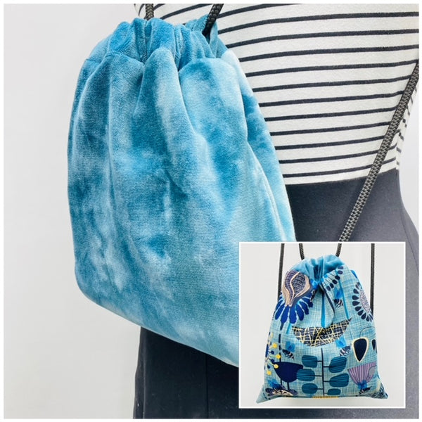 Reversible Cinch Sack Blue Dye Velvet Bee Party