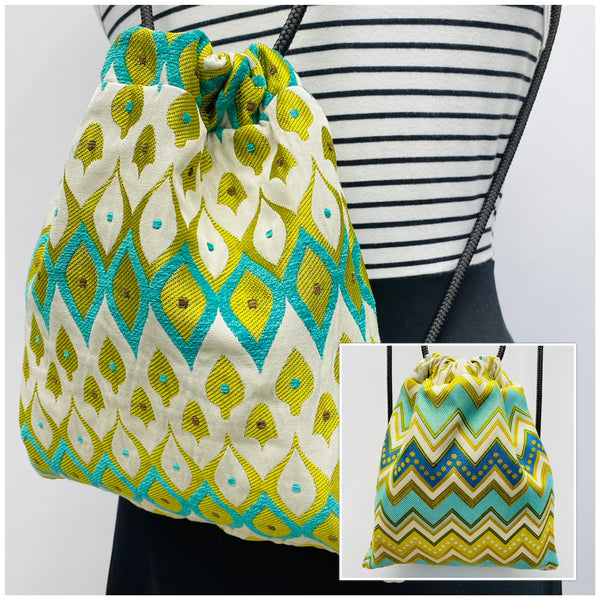 Reversible Cinch Sack Mardi Gras Green Aqua Zig Zag