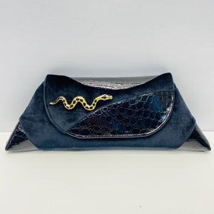 Clutch Black Velvet with Snake