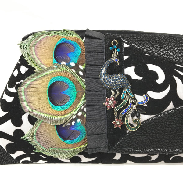 Clutch Black, Silver & Peacock